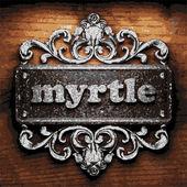 Myrtle vector metal word on wood — Stock Vector