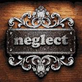Neglect vector metal word on wood — Stock Vector