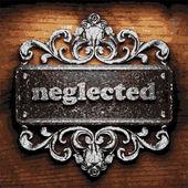Neglected vector metal word on wood — Vetor de Stock