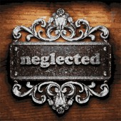 Neglected vector metal word on wood — Stock Vector