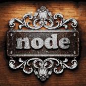 Node vector metal word on wood — Stock Vector