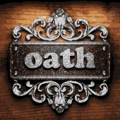 Oath vector metal word on wood — Vecteur