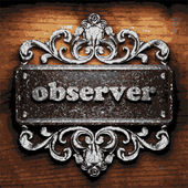 Observer vector metal word on wood — Stock Vector
