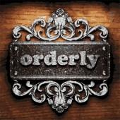 Orderly vector metal word on wood — Stock Vector