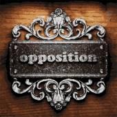 Opposition vector metal word on wood — Stock Vector