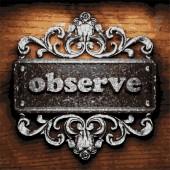 Observe vector metal word on wood — Stock Vector