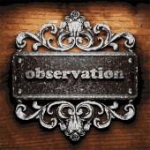 Observation vector metal word on wood — Stock Vector