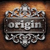 Origin vector metal word on wood — Stock Vector