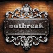 Outbreak vector metal word on wood — Stock Vector