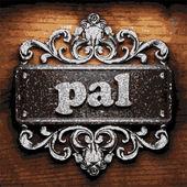 Pal vector metal word on wood — Stock Vector