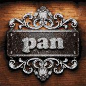 Pan vector metal word on wood — Stock Vector