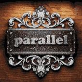 Parallel vector metal word on wood — Stock Vector
