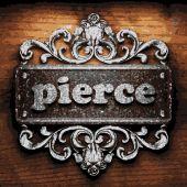 Pierce vector metal word on wood — Stock Vector