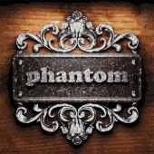 Phantom vector metal word on wood — Stock Vector