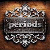 Periods vector metal word on wood — Stock vektor