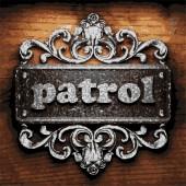 Patrol vector metal word on wood — Stock Vector