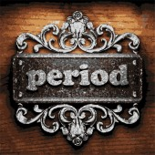 Period vector metal word on wood — Vector de stock