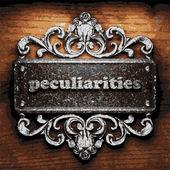 Peculiarities vector metal word on wood — Stock Vector