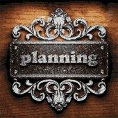 Planning vector metal word on wood — Stock Vector