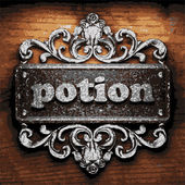 Potion vector metal word on wood — Stock Vector