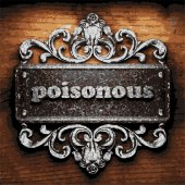 Poisonous vector metal word on wood — Vector de stock