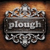 Plough vector metal word on wood — Stock Vector