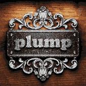 Plump vector metal word on wood — Stock Vector