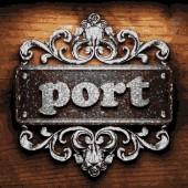 Portu wektor metalowe słowo na drewno — Wektor stockowy