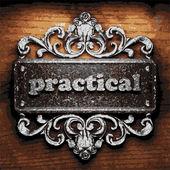 Practical vector metal word on wood — Stock Vector