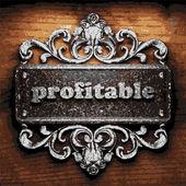Profitable vector metal word on wood — Stock Vector
