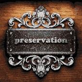 Preservation vector metal word on wood — Stock Vector