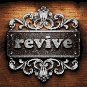 Revive vector metal word on wood — Stock Vector