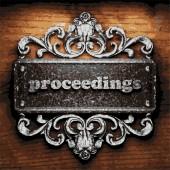 Proceedings vector metal word on wood — Stock Vector