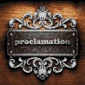 Proclamation vector metal word on wood — Stock Vector