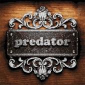 Predator vector metal word on wood — Stock Vector
