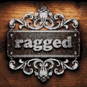 Ragged vector metal word on wood — Stock Vector
