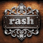 Rash vector metal word on wood — Stock Vector