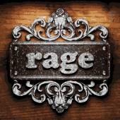 Rage vector metal word on wood — Stock Vector