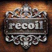 Recoil vector metal word on wood — Stock Vector