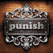 Punish vector metal word on wood — Stock Vector