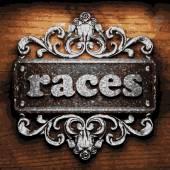 Races vector metal word on wood — Stock Vector