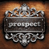 Prospect vector metal word on wood — Stock Vector