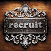 Recruit vector metal word on wood — Vecteur
