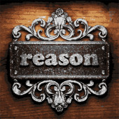 Reason vector metal word on wood — Stock Vector