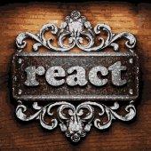 React vector metal word on wood — Stock Vector