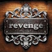 Revenge vector metal word on wood — Stock Vector