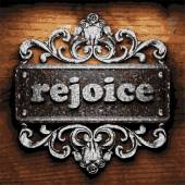 Rejoice vector metal word on wood — Stock Vector