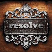 Resolve vector metal word on wood — Stock Vector