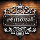 Removal vector metal word on wood — Stock Vector