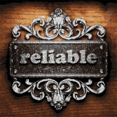 Reliable vector metal word on wood — Stock Vector